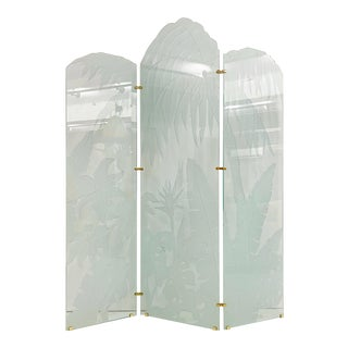 Vintage Pace Style Etched Glass Tropical Motif Folding Screen For Sale