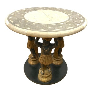Blackamoor and Stone Top Round End Table For Sale
