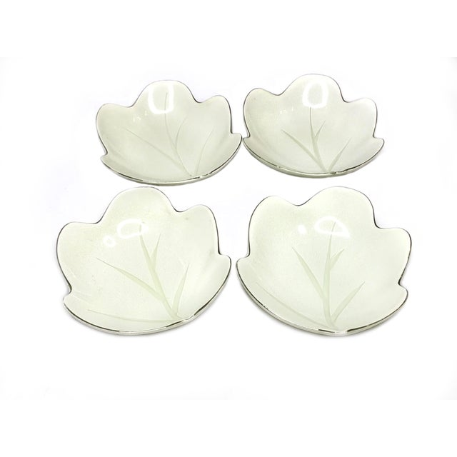Beautiful mid century fine china set of 4 leaf shaped plates / bowls with silver rims, hand made in Japan. This beautiful...