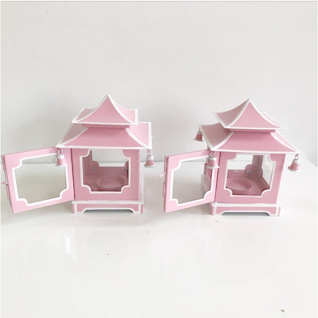 Pair of Pink Pagoda Candle Lanterns With White Stripe Detail With Bells For Sale - Image 12 of 13