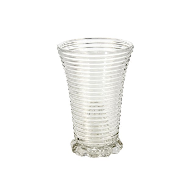 Ribbed Optic Glass Vase For Sale - Image 4 of 4