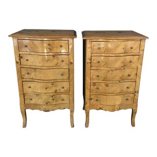 1950s French Louis XV Burled Walnut or Fruitwood Side Tables or Nightstands For Sale