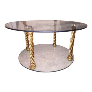 Gold Leaf & Glass 4 Pillar Side Table