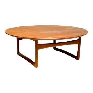 Mid Century Modern Round Teak Coffee Table by Peter Hvidt & Orla Mølgaard-Nielsen for John Stuart For Sale