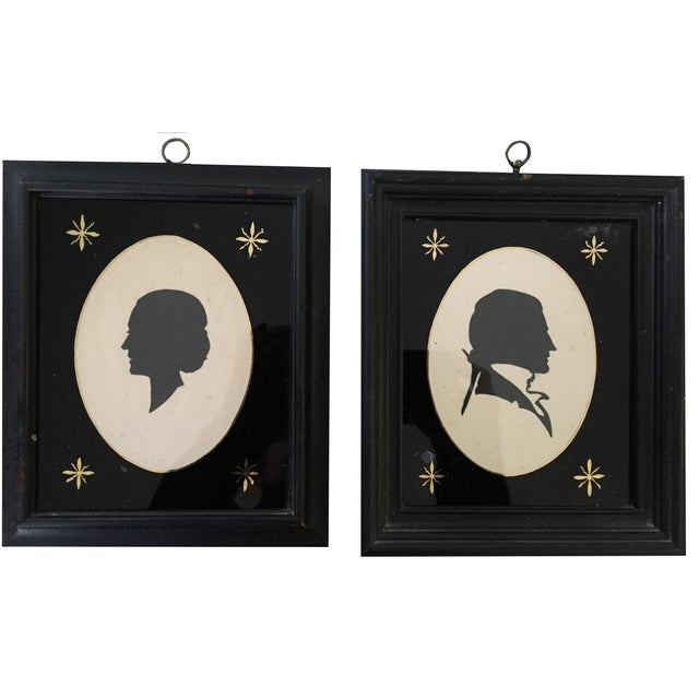 19th-C. Portrait Silhouettes - A Pair - Image 1 of 6