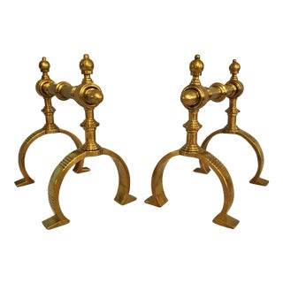 English Brass Firedogs - A Pair For Sale