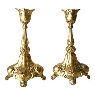 Antique Jennings Bros Art Nouveau Gilded Candlestick Holders - a Pair For Sale
