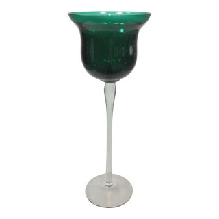 Vintage Murano Glass Emerald Green Decorative Goblet For Sale