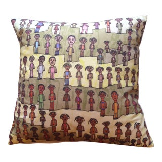 """""""Lots of People"""" Artwork Turned Accent Pillow With Green and Yellow For Sale"""