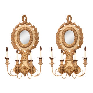 Italian Carved Wood & Iron Painted Sconces - A Pair