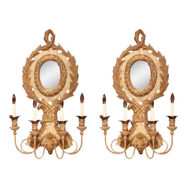 Italian Carved Wood & Iron Painted Sconces - A Pair - Image 1 of 10