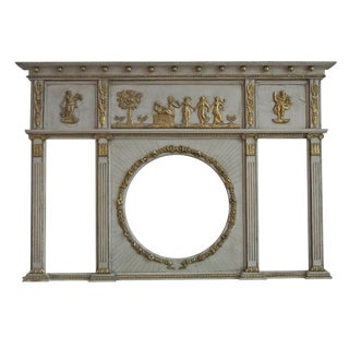 Early 19th Century Vintage English Regency Neoclassical Overmantel Mirror For Sale