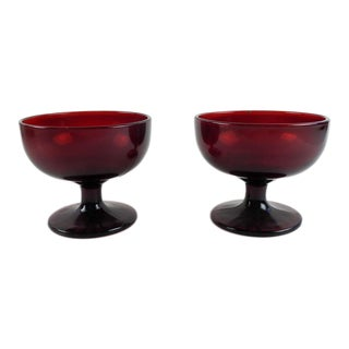 Vintage Ruby Glass Sherbet Glasses - a Pair For Sale