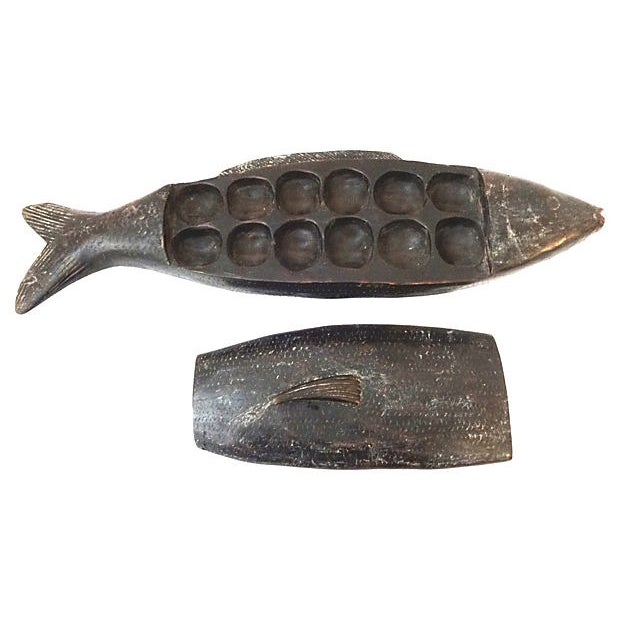 African Mancala Game in Wooden Fish For Sale