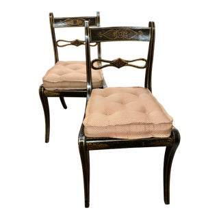 19th Century Small Black Chairs With Custom Silk Cushions and Cane Seats - a Pair For Sale
