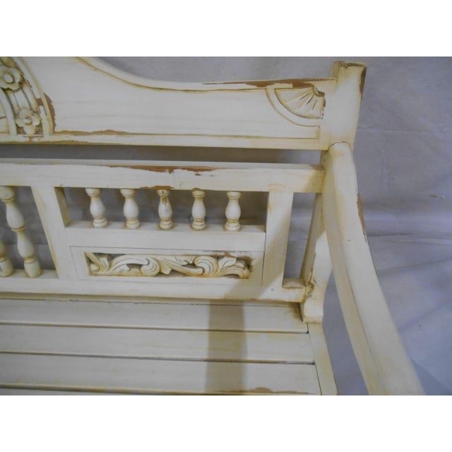 Antique White Late 20th Century Painted and Distressed French Country Garden Bench For Sale - Image 8 of 13