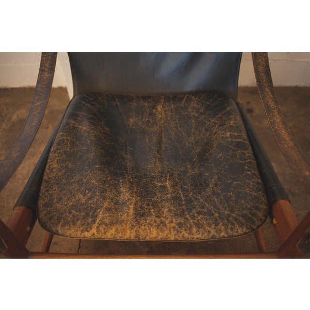 Hans Olsen Black Leather & Wood Safari Chair - Image 7 of 7