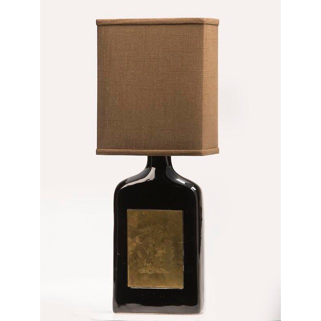 French Glazed Ceramic Bottle, Etched Brass Panels, France c.1960, Custom Lamp and Shade For Sale - Image 3 of 6