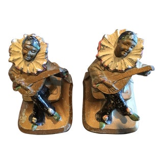Metal Jester Minstrel Bookends - A Pair