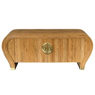 Gabriella Crespi Style Bamboo and Brass Waterfall Sideboard Cabinet For Sale