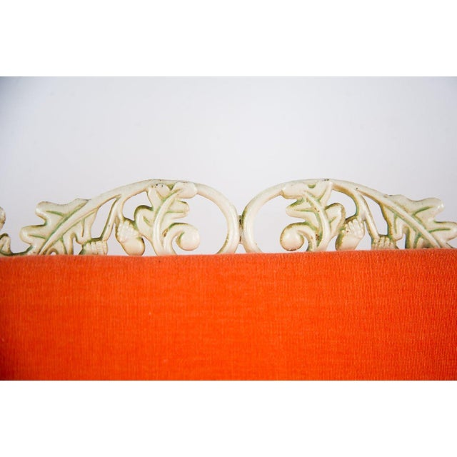 Hollywood Regency Orange and White Iron Benches - a Pair For Sale In Atlanta - Image 6 of 13