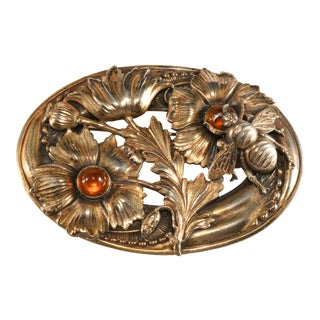 Joseff of Hollywood 1940s Brooch Bee Flower Amber Glass For Sale