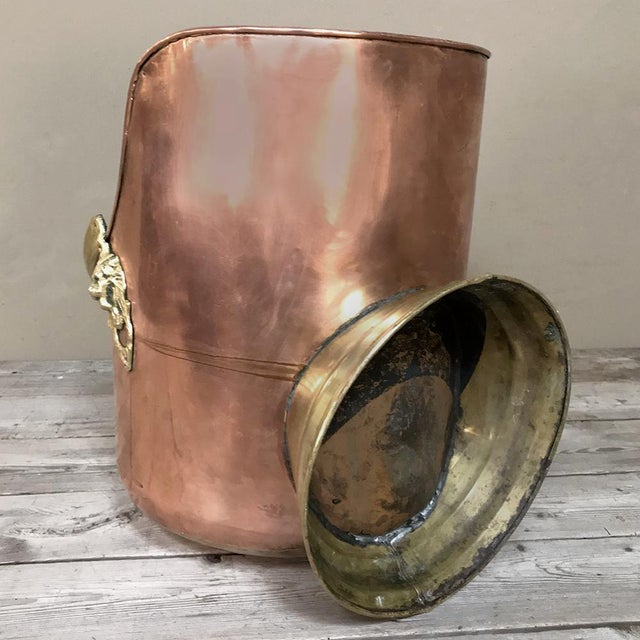 Coal Scuttle, 19th Century Handmade Copper and Brass For Sale - Image 10 of 11