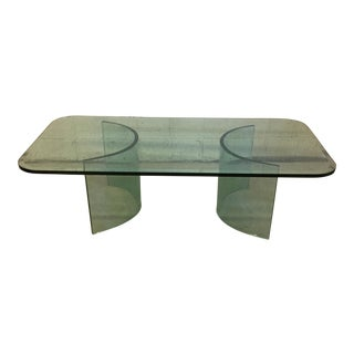 Pace Style Contemporary Thick Glass Coffee Table