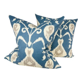 Ikat Cotton Print Pillows - A Pair For Sale