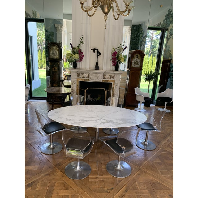 Mid-Century Modern Oval Knoll Marble Top Dining Table For Sale - Image 3 of 13