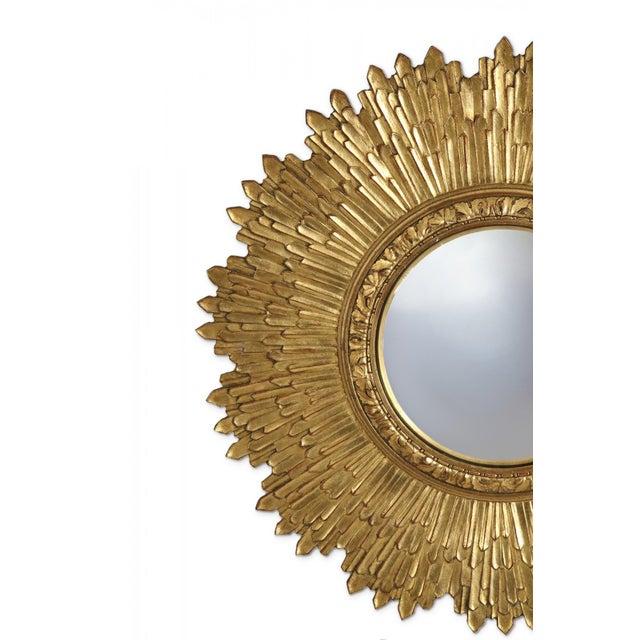 Mid-Century Modern Mid-Century Giltwood Sunburst Frame Convex Wall Mirror For Sale - Image 3 of 5