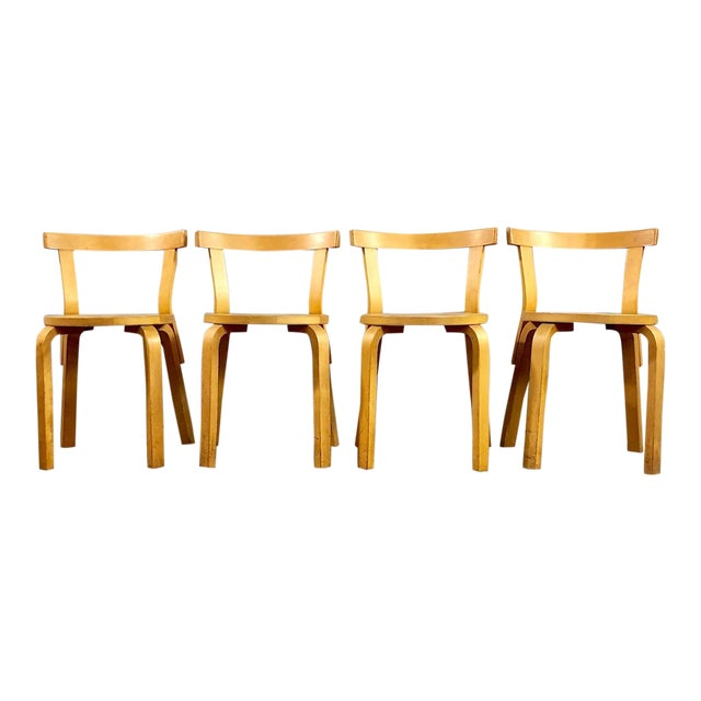 Sensational 1940S Vintage Alvar Aalto Bentwood Side Chairs Set Of 4 Spiritservingveterans Wood Chair Design Ideas Spiritservingveteransorg