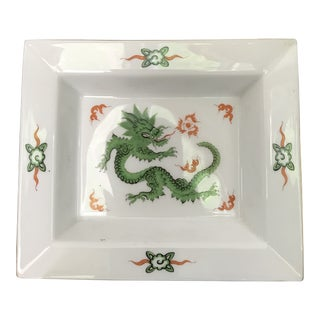 Meissen Ming Green Dragon Rectangle Tray For Sale