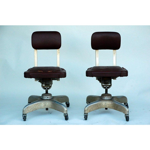 Animal Skin Pair of Aged Industrial Office Swivel Chairs For Sale - Image 7 of 7