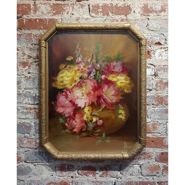 Florine Hyer - Beautiful Still Life of Flowers - Oil Painting -C1900 For Sale - Image 9 of 9