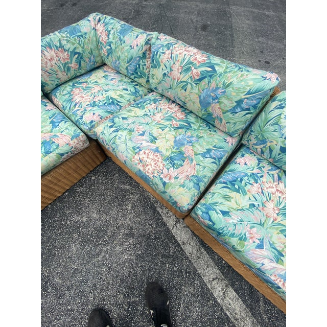 Vintage Coastal Woven Rattan Printed Sectional For Sale - Image 4 of 13