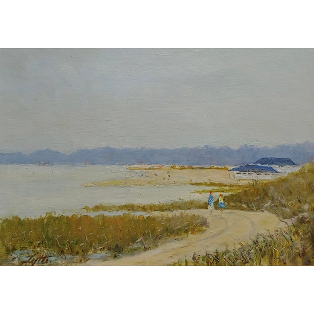 Americana Ralph Arthur Lyle -Walking Trail on a California Beach Landscape -Oil Painting For Sale - Image 3 of 9