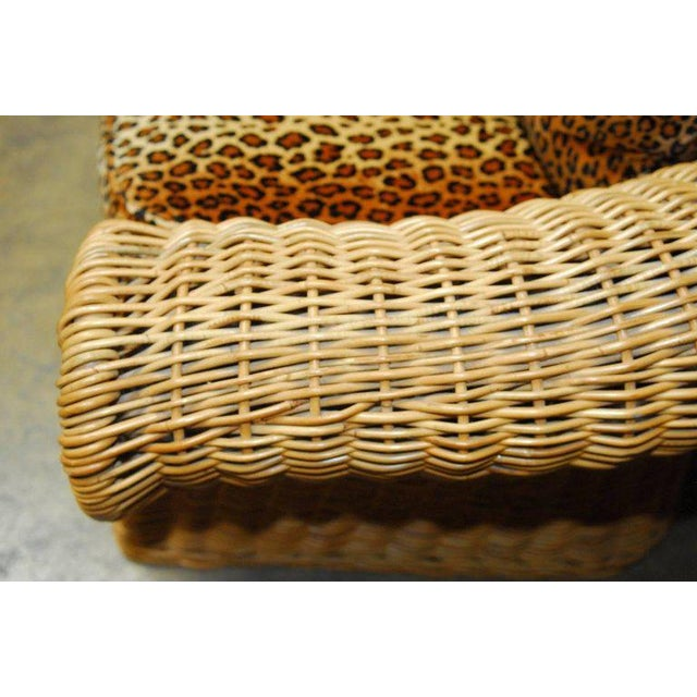 Michael Taylor Michael Taylor Inspired Wicker Sofa Scalamandre Style Leopard Upholstery For Sale - Image 4 of 10