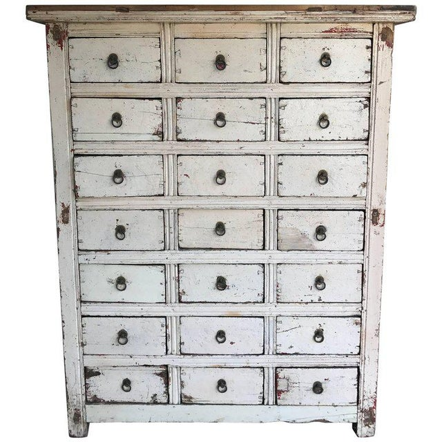 Primitive 21-Drawer Distress Painted Cabinet - Image 5 of 5