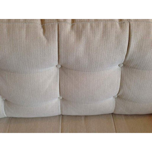 Crate & Barrel Contemporary White Tufted Sofa - Image 4 of 7