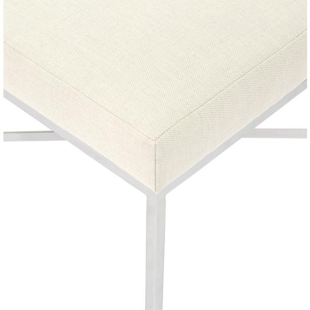 Chrome X-Base Upholstered Top Bench For Sale - Image 5 of 9