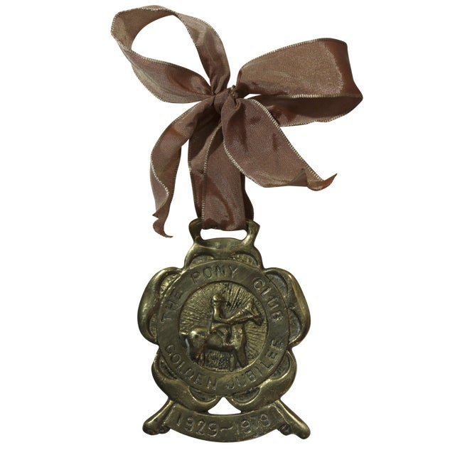 English Pony Club Jubilee Horse Brass Ornament - Image 1 of 3
