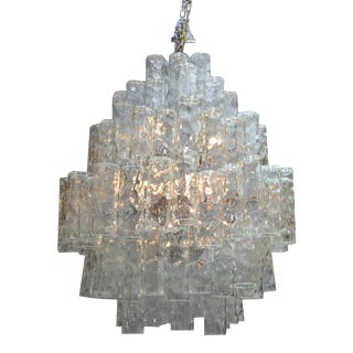 Huge Seven-Tier Italian Crystal and Chrome Chandelier For Sale