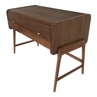 1960s Mid Century Modern Sligh Lowry Roll Top Desk For Sale