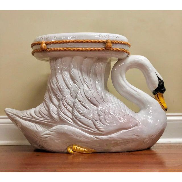 1950s Vintage Italian Mid Century Majolica Swan Garden Stool For Sale - Image 13 of 13