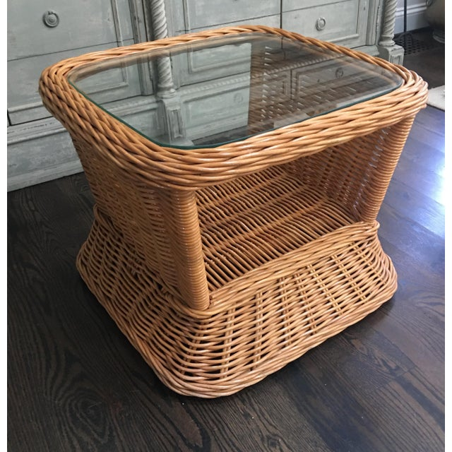 Wicker 1970s Boho Crespi Style Woven Rattan Wicker Glass Top Bamboo Table For Sale - Image 7 of 7