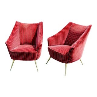 Vintage Mid-Century Italian Gio Ponti Style Lounge Chairs - A Pair