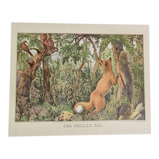1950s Vintage Puzzled Fox Currier & Ives Print For Sale