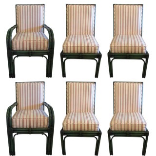Painted Green Bamboo & Striped Upholstery Dining Chairs - Set of 6