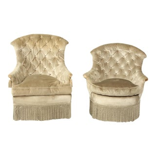 His and Hers Silver Velvet Boudoir Chairs For Sale